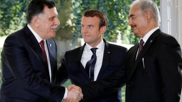 Emmanuel Macron, Sarraj e Gen Haftar