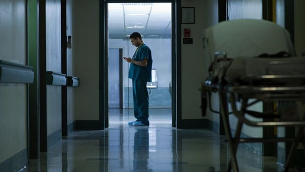 Doctor doing a night shift.