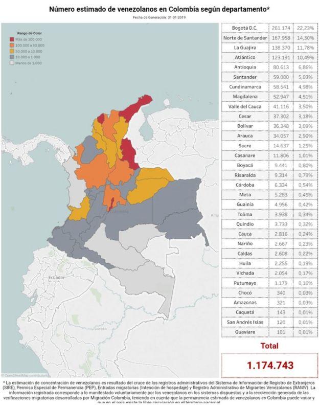 Mapa Colombia migrantes
