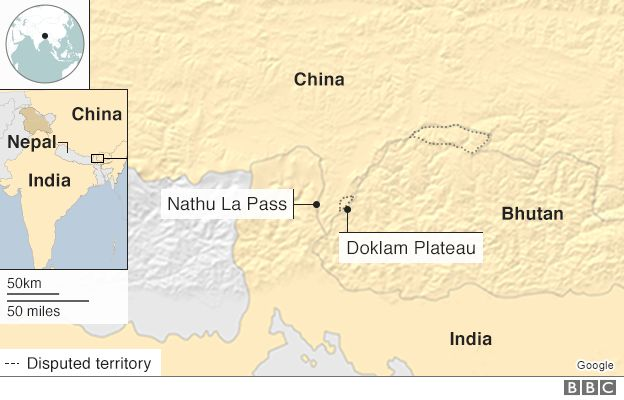 Whats behind the india china border stand off bbc news map disputed border areas gumiabroncs Choice Image