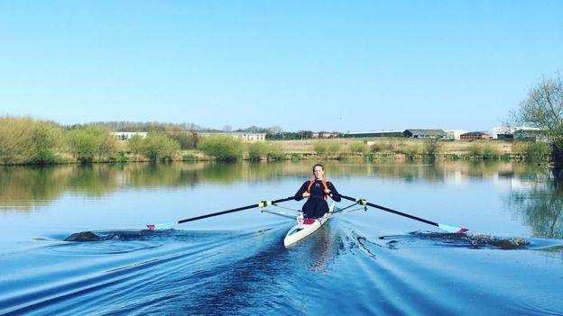 Ellie Bunce rowing