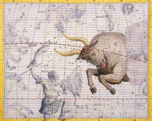 La constelación de Tauro, el toro, y Orión, el cazador, por James Thornhill