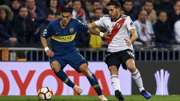 Momento del partido entre River y Boca en Madrid