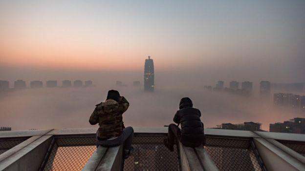 Contaminación en la ciudad de Zhengzhou, China.
