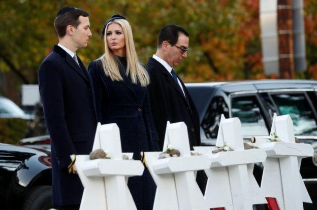 Jews from Mr Trump's administration, including Jared Kushner, Ivanka Trump and Steven Mnuchin, accompanied Mr Trump on the trip