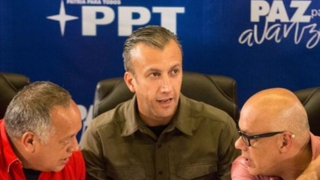 President of the official campaign Jorge Rodriguez (R), Vice President of the Socialist Party of Venezuela Diosdado Cabello (L), and Vice President of Venezuela Tarek El Aissami (C) speak during a press conference in Caracas, Venezuela, 15 October 2017
