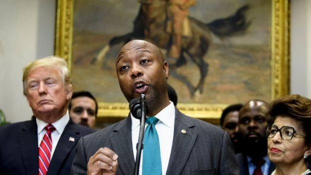 Republican Senator Tim Scott defended Mr Trump's sentiment but not his language