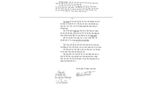Bản thảo di chúc Hồ Chủ tịch viết lần đầu năm 1965