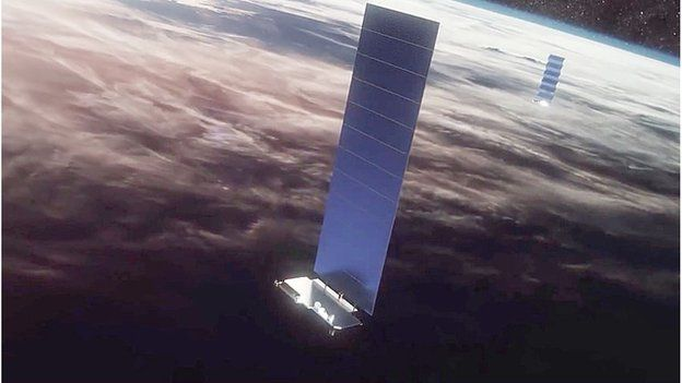 "Artwork: The 250kg satellites have a ""flatpack"" design which unfolds a solar array in orbit"