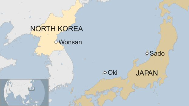 Map showing Oki and Sado in Japan, and Wonsan in North Korea