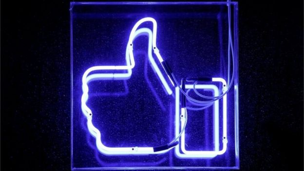 """A Facebook like button is pictured at the Facebook""""s France headquarters in Paris, France, November 27, 2017"""