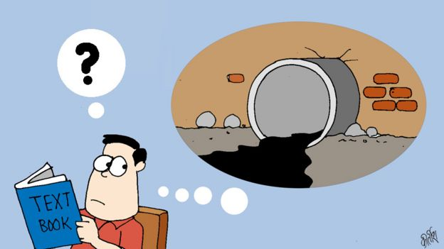 Cartoon of student envisaging a sewage canal
