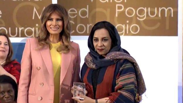 ملانیا ترامپ، همسر رئیسجمهور آمریکا، جمعه بعد از ظهر به وقت واشنگتن در مراسمی در وزارت خارجه، این جایزهها را داد