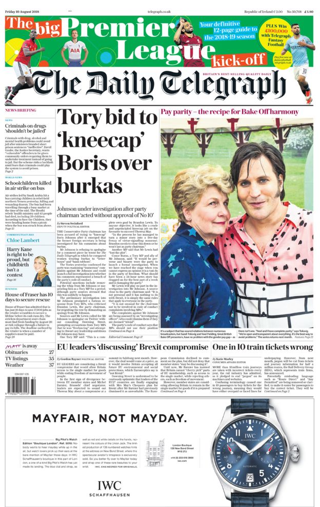 Daily Telegraph front page - 10/08/18