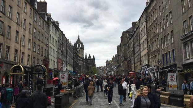 Edinburgh's High Street was also part of the closure, which will take place on the first Sunday of every month as part of an 18-month trial