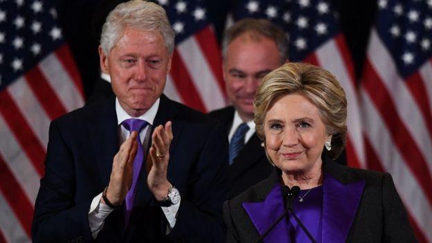 美国前总统克林顿和夫人。