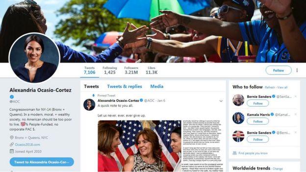 حساب تويتر لنائبة الكونغرس كورتيز