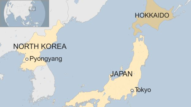 North Korea Fires Missile Over Japan MyJoyOnlinecom - Map of us and japan