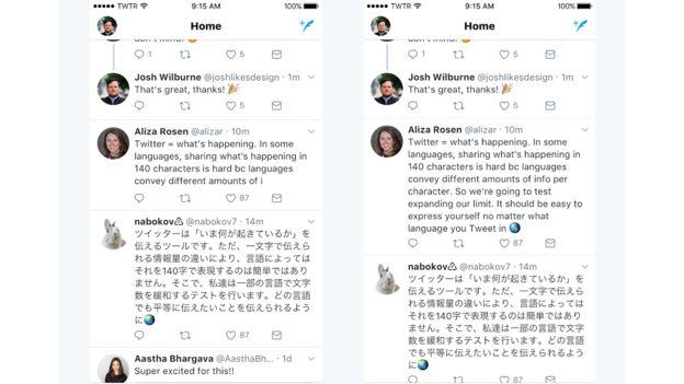 Comparación de cómo se verán los nuevos tuits en comparación con la extensión actual.