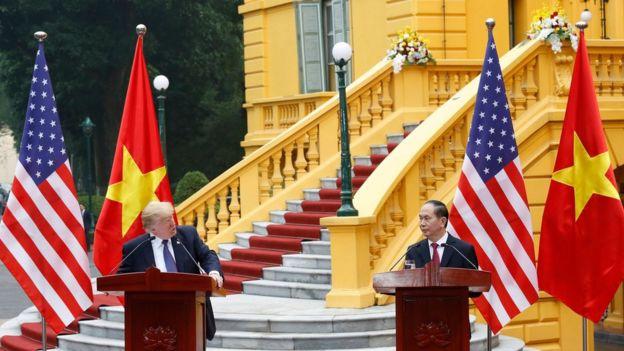 美國總統特朗普與越南總統陳大光。