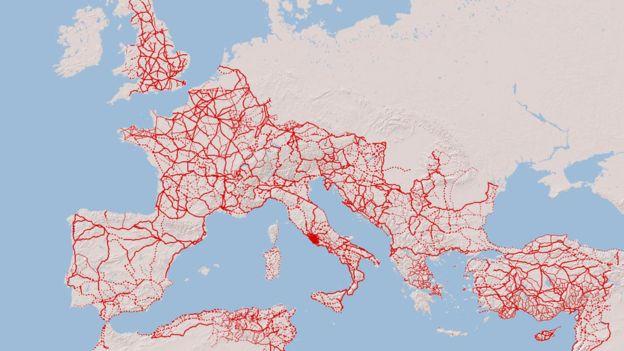 Mapa das rotas romanas na Europa, Oriente Médio e Norte da África