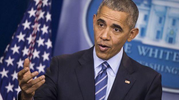 Barack Obama ofreciendo un discurso en 2016.
