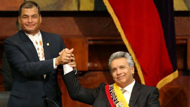 Correa y Moreno en el cambio de gobierno.
