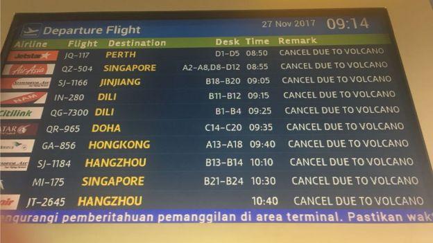 巴厘首府的登巴薩機場絶大部份航班取消