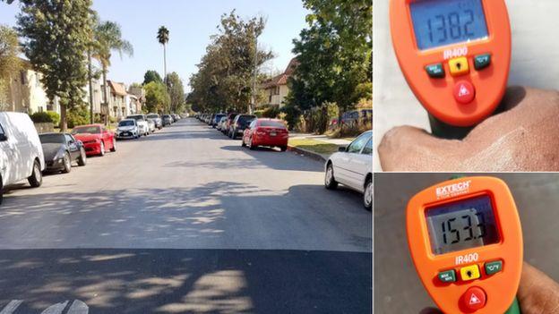 Comparação de temperaturas nas ruas com CoolSeal