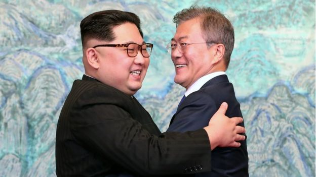 Kim Jong-un and Moon-Jae in at their April summit