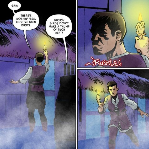 Three panels from the graphic novel