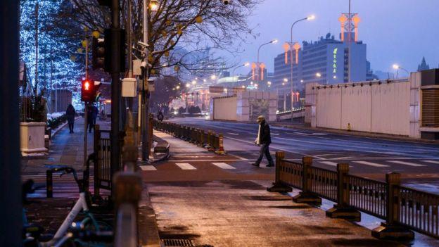 Khu trung tâm Bắc Kinh thường ngày nhộn nhịp, nhưng giờ vắng tanh. Hình chụp ngày 7/2