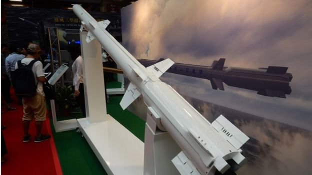 台湾发展新型导弹以对应来自中国的军事威胁,图为海剑二型舰对空导弹。
