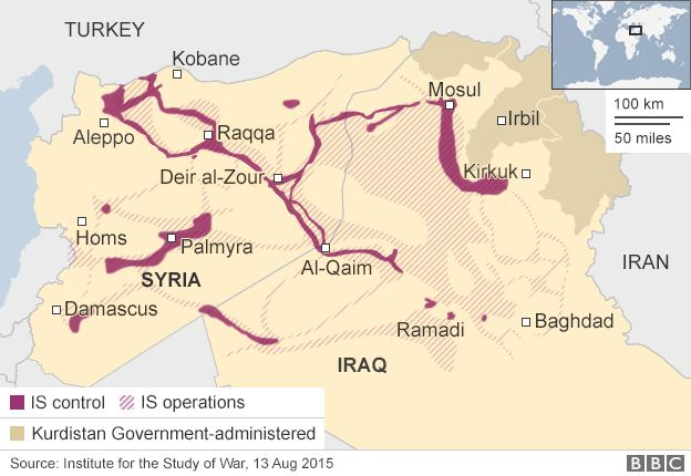 Map of areas under IS control