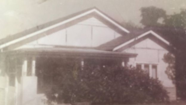 Black and white photo of the Haynes' family home in Greenacre, in western Sydney