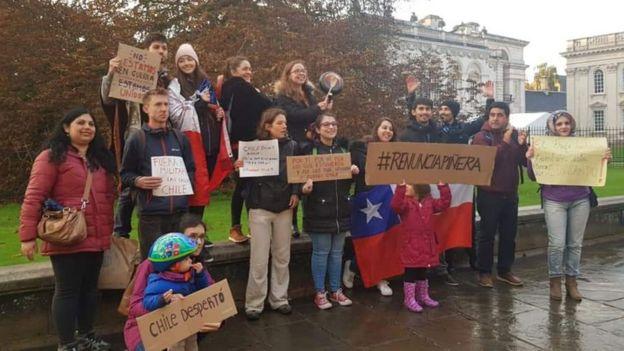 Manifestación de apoyo a Chile en Cambridge, Reino Unido