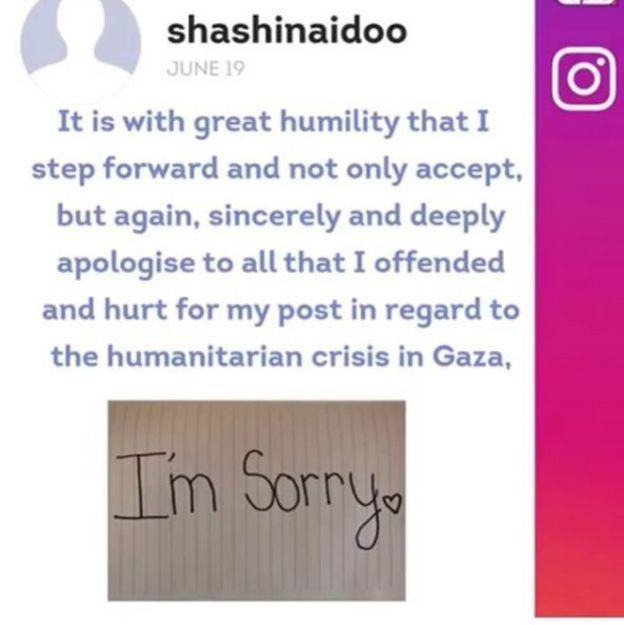 نشرت نايدو في عدة مناسبات وبطرق مختلفة اعتذارها من الشعب الفلسطيني لعدم فهمها عمق الأزمة الإنسانية في غزة