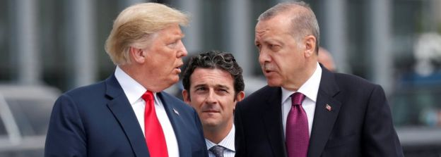 US President Donald Trump and Turkish President Recep Tayyip Erdogan in Brussels, 11 Jul 18