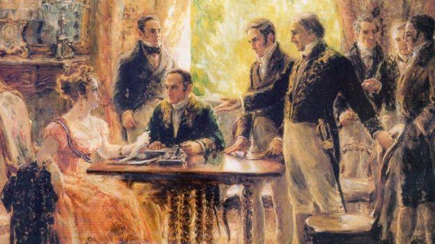Em pintura de Georgina de Albuquerque, reunião de Leopoldina com o Conselho de Ministros em 2 de setembro de 1822