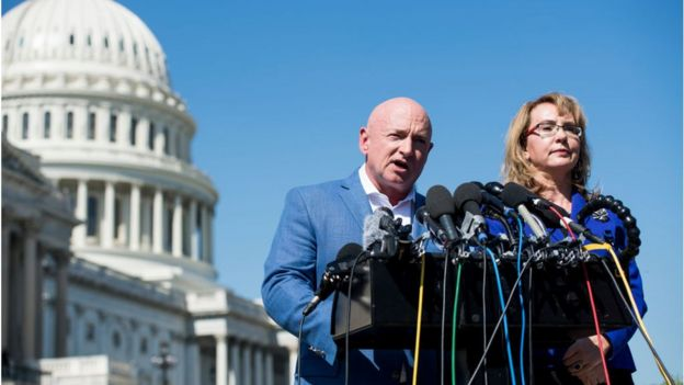 Former Congresswoman Gabrielle Giffords, D-Ariz., and her husband retired NASA astronaut Captain Mark Kelly hold a news conference at the U.S. Capitol on Monday, Oct. 2, 2017, to respond to last nights tragic mass shooting in Las Vegas, NV. They are the Co-Founders of Americans for Responsible Solutions.