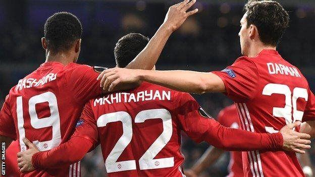Henrikh Mkhitaryan amefunga katika michuano minne mfululizo ya United ya ugenini
