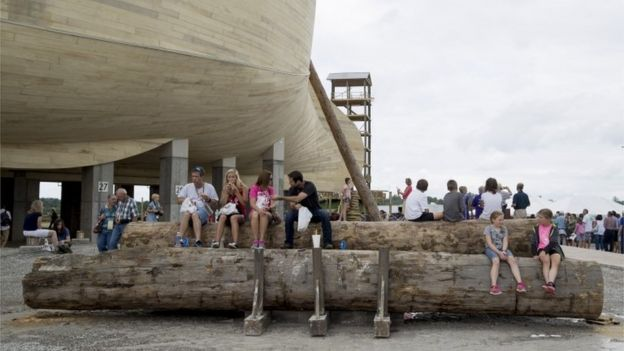 Patrons wait for tours outside the Ark Encounter in Kentucky.