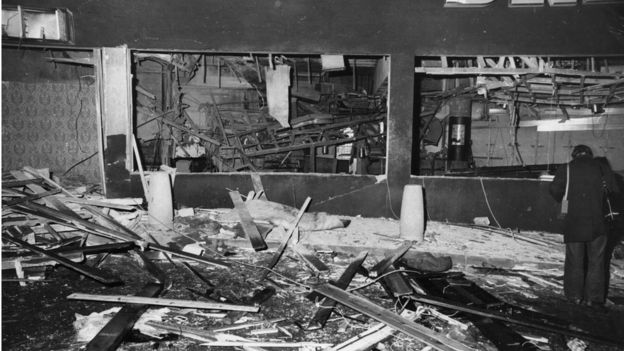 The wrecked interior of the Mulberry Bush public house, Birmingham, after the explosion of a bomb planted by the IR