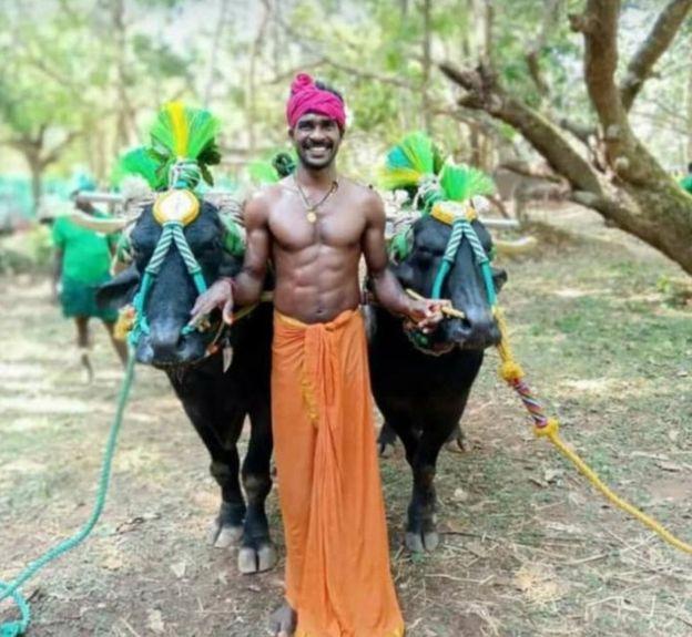 Srinivas Gowda with his two buffalo