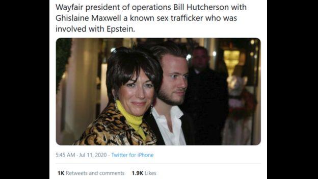 Acusación falsa en Twitter sobre un ejecutivo de Wayfair y el caso de Jeffery Epstein