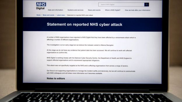 NHS Digital statement on a laptop
