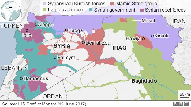 Map showing control of Iraq and Syria (19 June 2017)