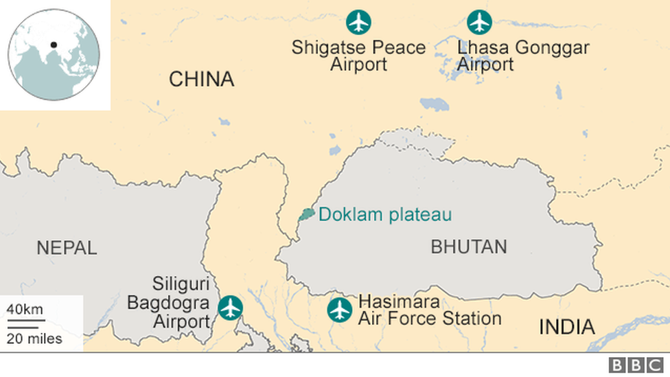 Map showing China and India bases near Doklam plateau