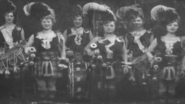 Lil (second from right) during her days as a performer