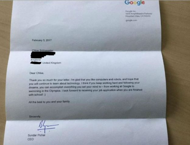 Carta assinada por Sundar Pichai